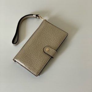 Coach Pebble Leather Phone Wristlet Wallet.